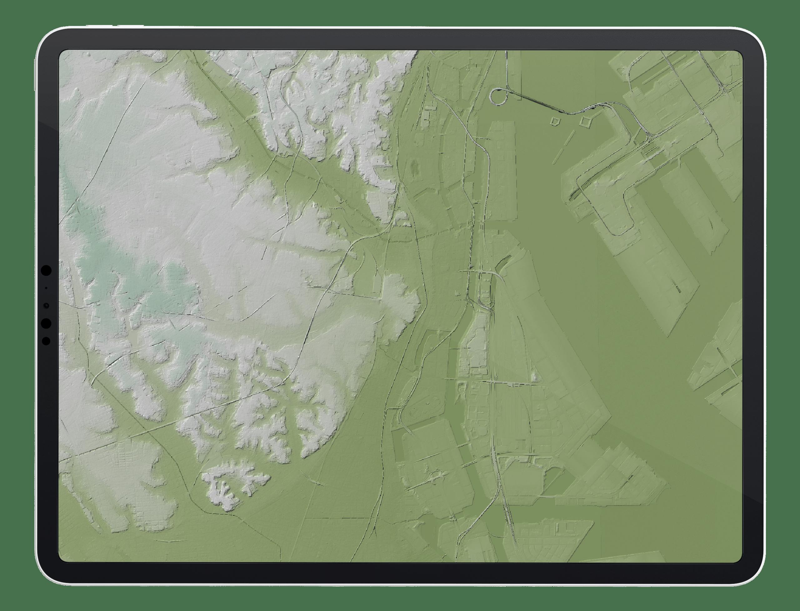 Digital Terrain Map on Tablet